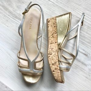 Prada Gold and Silver Strappy Cork Wedges